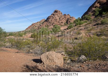 The Big Butte rock formation at Papago Park in Phoenix