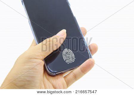 Fingerprint scanner on mobile screen / direct Fingerprint scanner on screen of smart phone