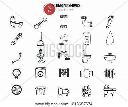 Set of plumbing services icons in doodle hand drawn style. Pipe equipment for home repair works with signs of bathroom, faucet, plunger, valve, heating boiler. Vector illustration for advertising