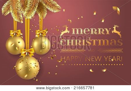Merry Christmas And Happy New Year Greeting Card Or Flyer Invitation Template With Confetti, Golden