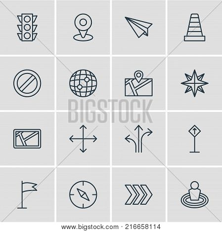 Vector Illustration Of 16 Location Outline Icons. Editable Set Of Location, Pennant, Pin And Other Elements.