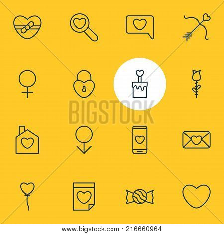 Vector Illustration Of 16 Amour Outline Icons. Editable Set Of Smartphone, Woman, Magnifier And Other Elements.