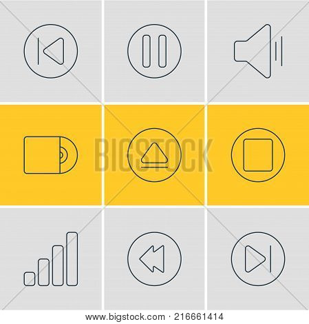 Vector Illustration Of 9 Music Outline Icons. Editable Set Of Reversing, Audio, Acoustic And Other Elements.