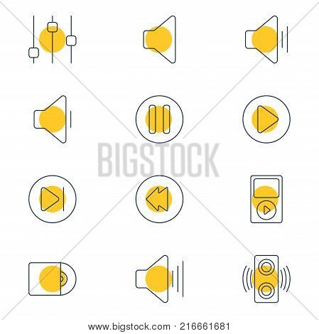 Vector Illustration Of 12 Music Outline Icons. Editable Set Of Speaker, Mp3, Reversing And Other Elements.