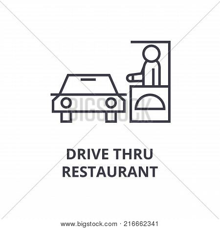 drive thru restaurant line icon, outline sign, linear symbol, flat vector illustration