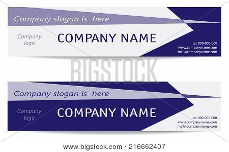 Banner Templates set in bright blue. Two Business Headers. Creative Modern Reverse Design. Layout for web banners business cards promotion advertising marketing. Vector EPS10 illustration