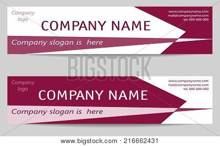 Two Business Headers. Banner Templates set in dark bright cherry. Creative Modern Reverse Design. Layout for web banners, business cards, promotion, advertising, marketing. Vector EPS10 illustration
