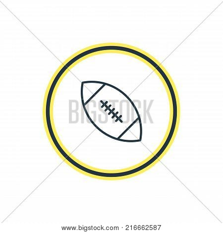 Vector Illustration Of Rugby Outline. Beautiful Sport Element Also Can Be Used As Touchdown Element.
