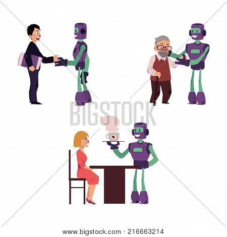 vector flat robots people interactions. Robot assistant helping aged man to cross the road, another bot dealing with businessman handshaking, bot waiter serving coffee to woman. Isolated illustration