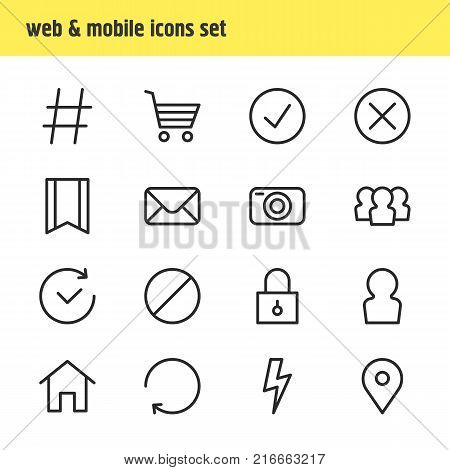 Vector Illustration Of 16 App Outline Icons. Editable Set Of Pinpoint, Block, Photo Apparatus And Other Elements.