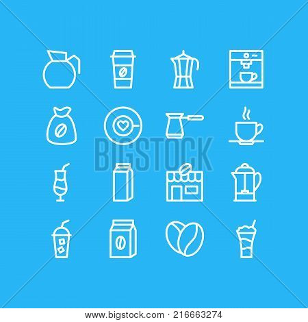 Vector Illustration Of 16 Drink Outline Icons. Editable Set Of Package, Seed, Coffeemaker And Other Elements.