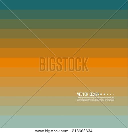 Abstract background with rhythmic rectangular horizontal stripes. Transition and gradation of color. Vector blend gradient for illustrations, covers and flyer. Color green, orange, blue, yellow, gold.