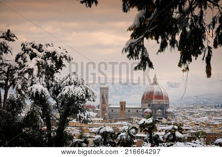 Beautiful Cityscape of Florence in Winter season.  The Cathedral of Santa Maria del Fiore (Duomo di Firenze) as seen from Piazzale Michelangelo, Italy.