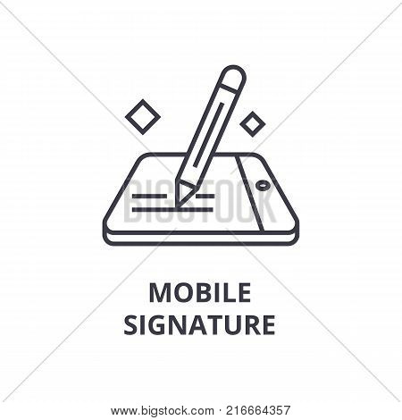 mobile signature line icon, outline sign, linear symbol, flat vector illustration