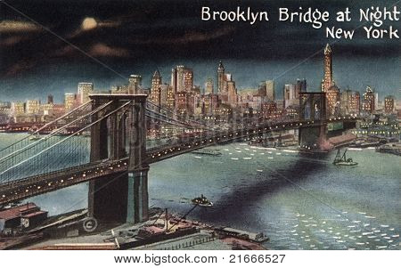 BROOKLYN, NEW YORK - CIRCA 1915: Vintage postcard depicting the Brooklyn Bridge at night, crossing over the East River, connecting the boroughs of Manhattan & Brooklyn, New York, USA, circa 1915.