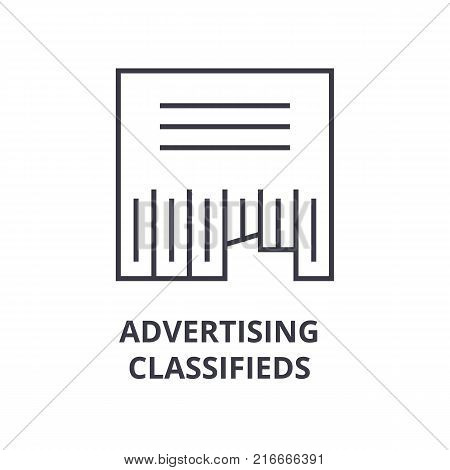 advertising classifieds line icon, outline sign, linear symbol, flat vector illustration