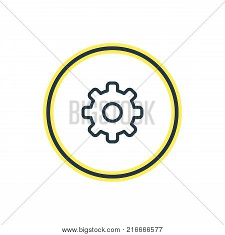 Vector Illustration Of Cog Outline. Beautiful Annex Element Also Can Be Used As Gear Element.