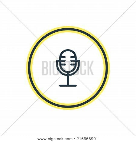 Vector Illustration Of Microphone Outline. Beautiful Hobby Element Also Can Be Used As Mic Element.
