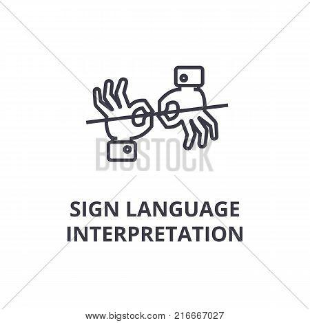 sign language interpretation line icon, outline sign, linear symbol, flat vector illustration