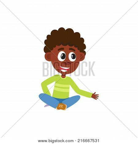 Little black, African American kindergarten boy sitting on floor crossed legs, listening, cartoon vector illustration isolated on white background. Sitting black, African American boy, child, kid