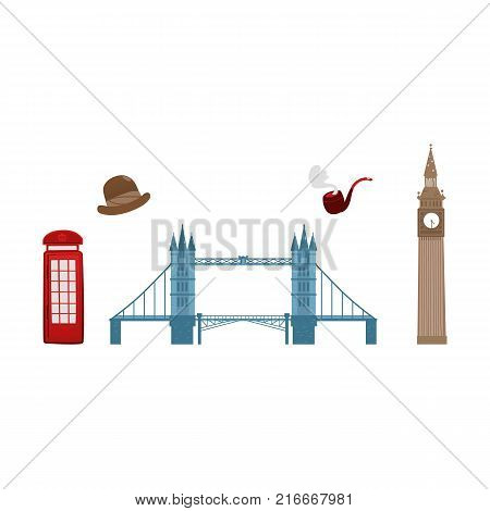 vector flat United kingdom, great britain symbols set. British phone booth, Tower Bridge and Big Ban Tower of London, gentleman hat and smoking pipe icon. Isolated illustration on a white background