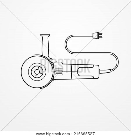 Typical compact electric angle grinder with wire and abrasive disc. Modern isolated cutting tool in flat silhouette style. Professional power tool vector stock image.