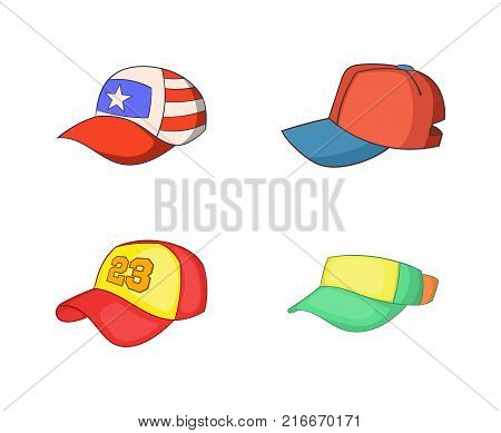 Baseball cap icon set. Cartoon set of baseball cap vector icons for your web design isolated on white background poster