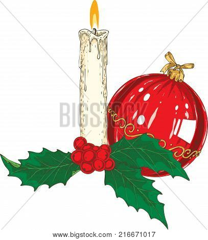 Burning White Taper Christmas Candle with Mistletoe and Red Glass Bauble. Isolated on a White Background