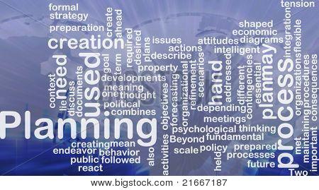 Word cloud concept illustration of planning process international