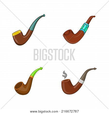 Smoking pipe icon set. Cartoon set of smoking pipe vector icons for your web design isolated on white background