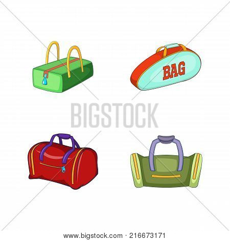 Sport bag icon set. Cartoon set of sport bag vector icons for your web design isolated on white background