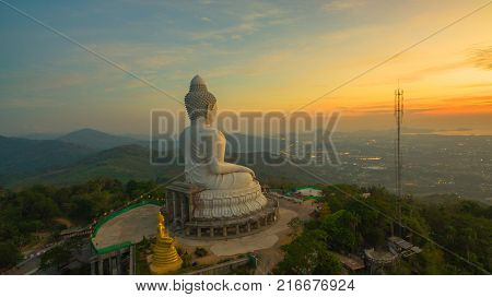 aerial view sunrise in front of Phuket big Buddha Stunning panoramic view of Phuket big Buddha in the morning Phuket Big Buddha is one of the island most important and revered landmarks on the island.