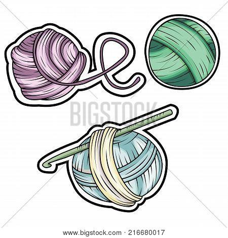 Yarn ball stickers set in cartoon style. For print logo creative design. Vector illustration.