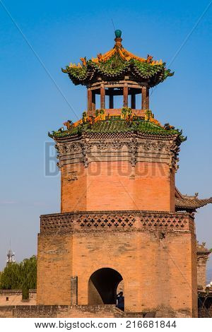 Well preserved watch tower on the wall protecting the ancient city of Pingyao