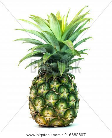 couple ripe pineapple on white background healthy pineapple fruit food isolated.