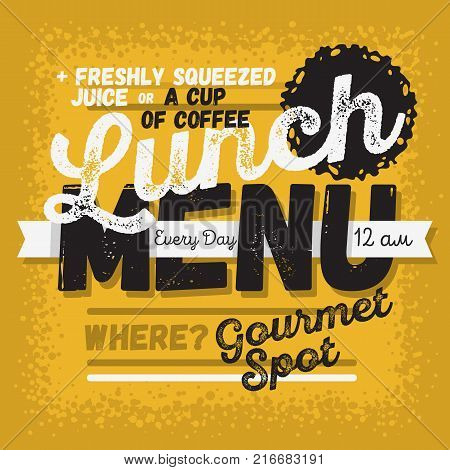 Lunch Menu Vintage Influenced Typographic Poster Design For Restaurants. Vector Graphic.