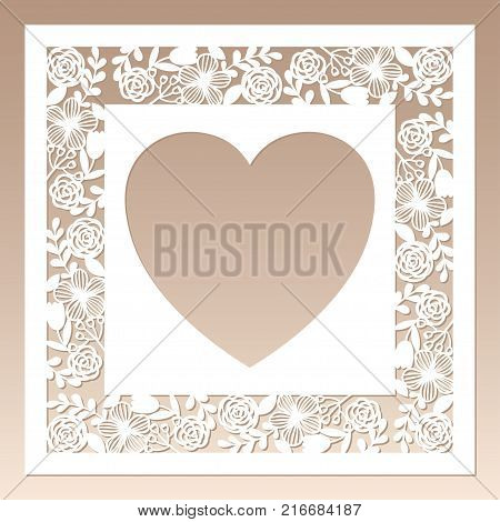 Openwork square frame with flowers and heart inside. Laser cutting template for greeting cards envelopes wedding invitations.