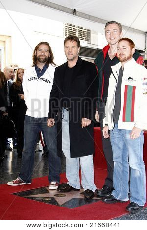 LOS ANGELES - APR 12: Alan Doyle, Russell Crowe, Kevin Durand and Scott Grimes at a ceremony where Russell Crowe is honored with the 2404th star on the Walk of Fame, Los Angeles, CA on April 12, 2010
