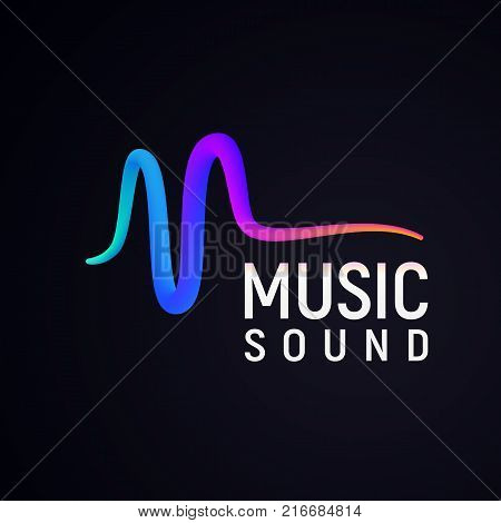Stylised sound wave isolated logo. Abstract pulse vector illustration.