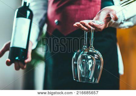 Sommelier Tasting Wine, Toned Image, Close Up Image