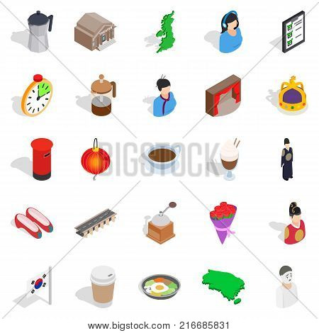 Life of ease icons set. Isometric set of 25 life of ease vector icons for web isolated on white background