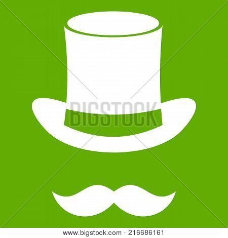 Magic  hat and mustache icon white isolated on green background. Vector illustration