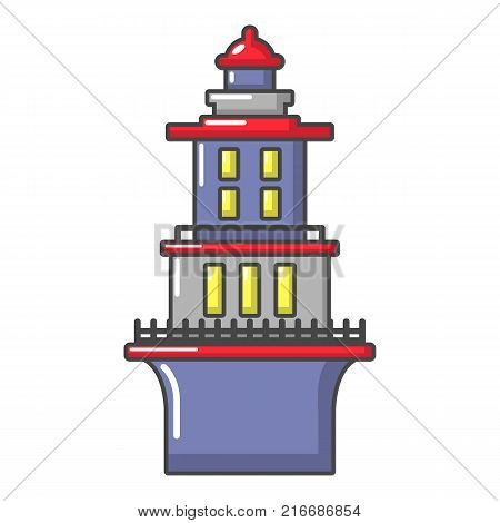 Marine lighthouse icon. Cartoon illustration of marine lighthouse vector icon for web
