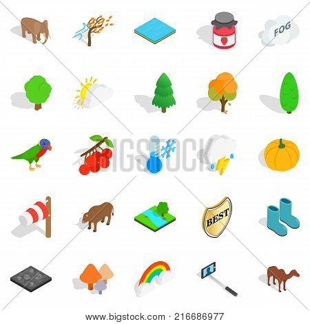 Wildlife sanctuary icons set. Isometric set of 25 wildlife sanctuary vector icons for web isolated on white background