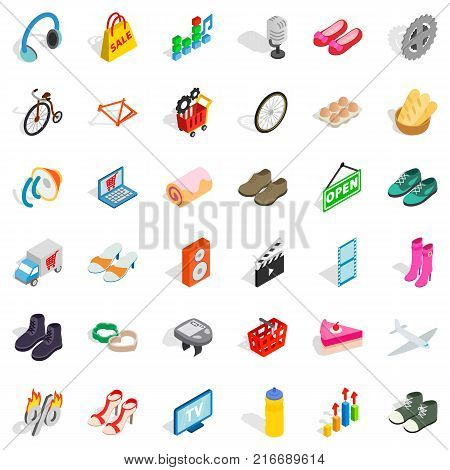 Internet shop icons set. Isometric style of 36 internet shop vector icons for web isolated on white background