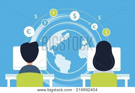 Internet Payment, Working Online and Currency Flow Analytics Concept Illustration. Vector Design.