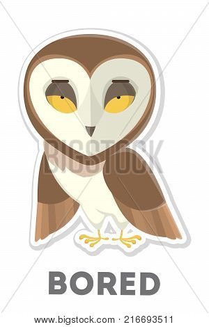 Isolated bored owl with yellow eyes on white background.