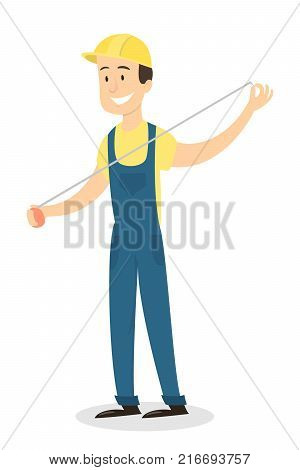 Isolated worker in uniform measuring with measure tape.