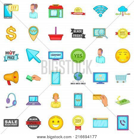 Internet shop icons set. Cartoon style of 36 internet shop vector icons for web isolated on white background