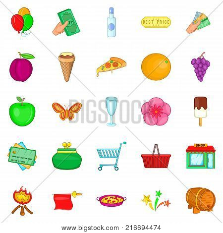 Evening revelry icons set. Cartoon set of 25 evening revelry vector icons for web isolated on white background